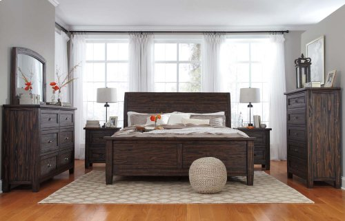 King Sleigh Bed w/ Panel Footboard