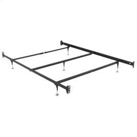 Fashion Rails Brass Bed Frame System 1005 with Bolt-On Headboard Brackets and (5) Adjustable Leg Glides, Queen