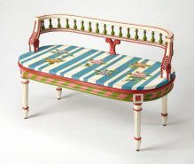 This vibrantly colored hand-painted bench in an Alice In Wonderland finish will bring whimsy to any space. Handcrafted from rubberwood solids and wood products, it features a carved spindle back, fluted legs and ballerina feet.