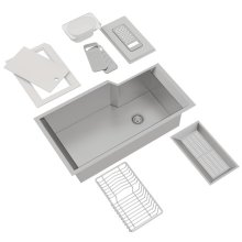 ROHL Single Bowl Stainless Steel Kitchen Sink With Accessories