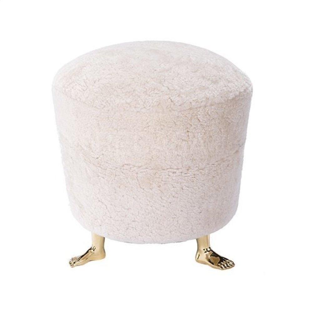 Small Shearling Pouf With Brass Feet