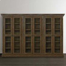 Emporium Smoked Oak Compass Tall Triple Display Cabinet