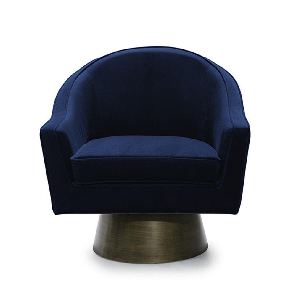 Modern Swivel Chair With Bronze Base In Navy Velvet