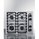 """24"""" Wide Sealed Burner Gas Cooktop In Chrome With Cast Iron Grates and Spark Ignition, Made In the USA Product Image"""