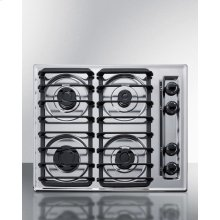 """24"""" Wide Sealed Burner Gas Cooktop In Chrome With Cast Iron Grates and Spark Ignition, Made In the USA"""