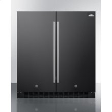 Frost-free Side-by-side Refrigerator-freezer for Built-in or Freestanding Use In Black Finish With Locks, Stainless Steel Handles, and Digital Controls