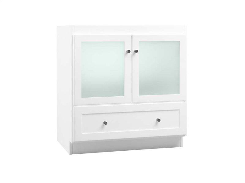 Shaker 30 Bathroom Vanity Cabinet Base In White Frosted Gl Doors