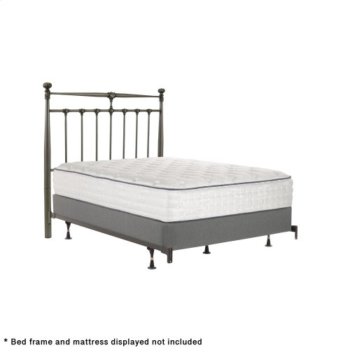 Kensington Metal Headboard Panel with Stately Posts and Detailed Castings, Vintage Silver Finish, Queen