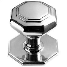 "Antique Brass Unlacquered Octagonal centre door knob, 4"" diameter"