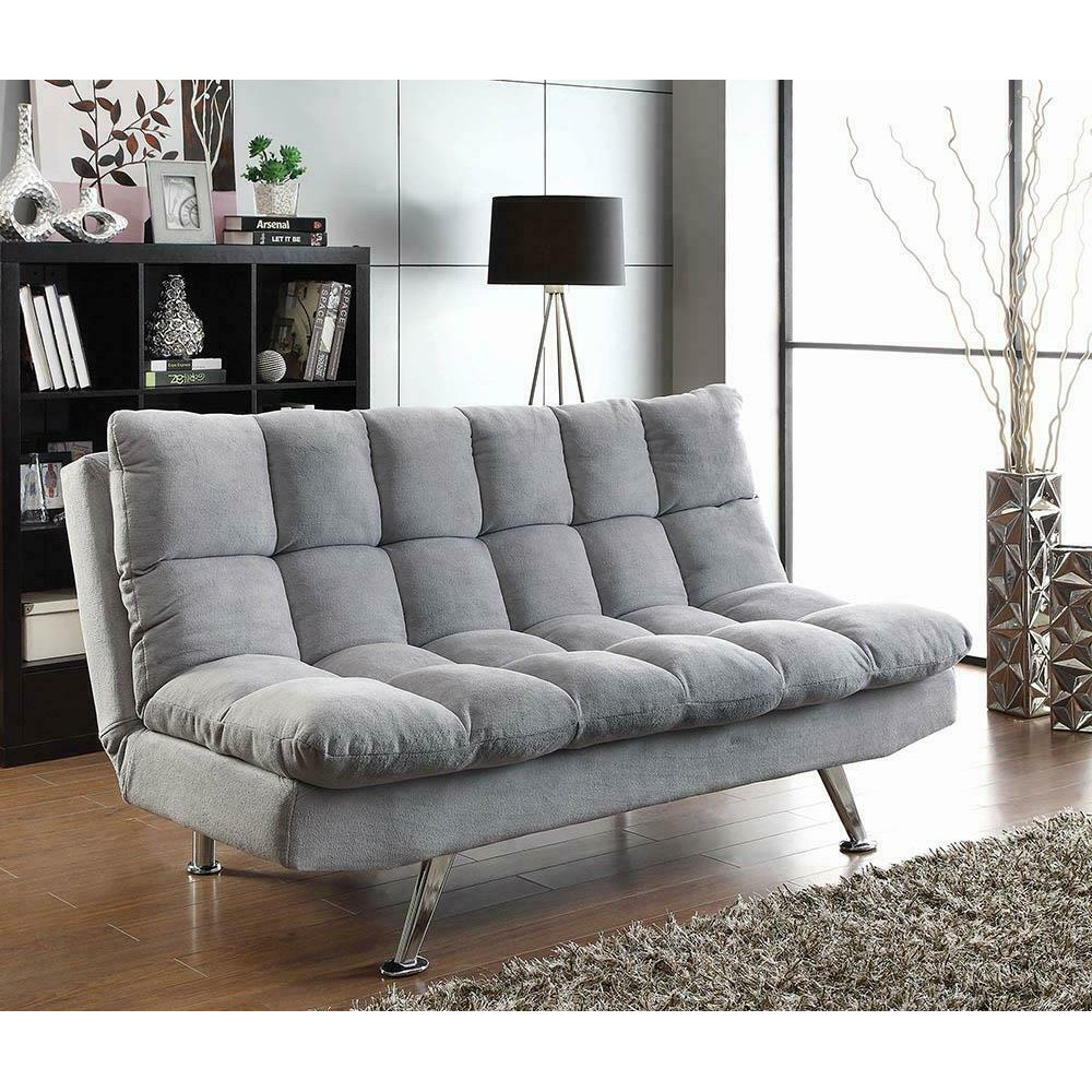 Transitional Dark Grey and Chrome Sofa Bed