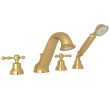 Italian Brass Arcana 4-Hole Deck Mount Tub Filler & Handshower with Arcana Series Only Ornate Metal Lever