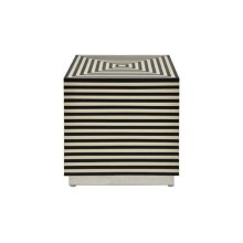 Black and Off White Resin Horizontal Stripe Square Cube With Nickel Base