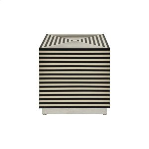Worlds AwayBlack and Off White Resin Horizontal Stripe Square Cube With Nickel Base