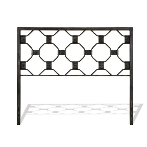 Baxter Complete Metal Bed and Steel Support Frame with Geometric Octagonal Design, Heritage Silver Finish, Twin