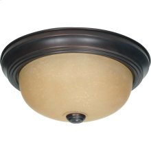 2-Light Small Dome Flush Ceiling Light Fixture in Mahogany Bronze Finish with Champagne Linen Glass