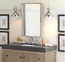 """Transitional 23"""" x 33"""" Solid Wood Framed Medicine Cabinet in Aged Oak"""