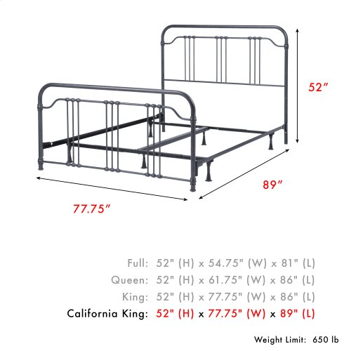 Wellesly Complete Metal Bed and Steel Support Frame with Straight Spindles and Intricately Designed Casters, Marbled Navy Finish, California King