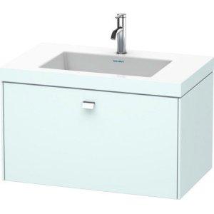 Furniture Washbasin C-bonded With Vanity Wall-mounted, Light Blue Matt Decor