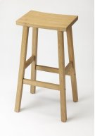 Enhance your kitchen, bar or work space with this modern backless counter stool. Crafted from rubberwood solids, it features a soft gray finish with a rectangular seat. Product Image