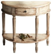 Add style and elegance to your home with this demilune console. Features oak veneers with an artisan-applied crackled, distressed Chateau Gray paint finish. Crafted from poplar hardwood solids, wood products and choice cherry veneers with antique brass fi Product Image