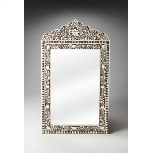 This magnificent Wall Mirror features old world craftsmanship. No two mirrors are ever exactly alike as each piece is handcrafted takes weeks of painstaking effort. The intricate patterns covering the piece are created from white bone inlays cut and indi
