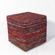 "F800 Red Multi Viscose Pouf 18"" X 18"" X 18"""