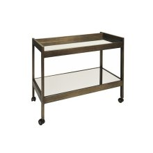 Painted Bronze Bar Cart With Two Mirrored Shelves