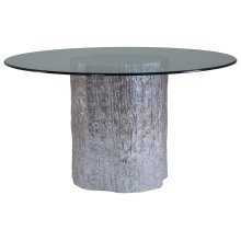 Trunk Segment Round Dining Table With Glass Top