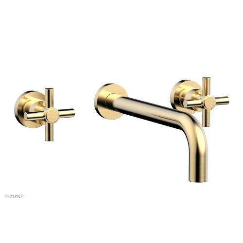 "Basic Wall Tub Set 10"" Spout - Tubular Cross Handles D1134-10 - Satin Brass"