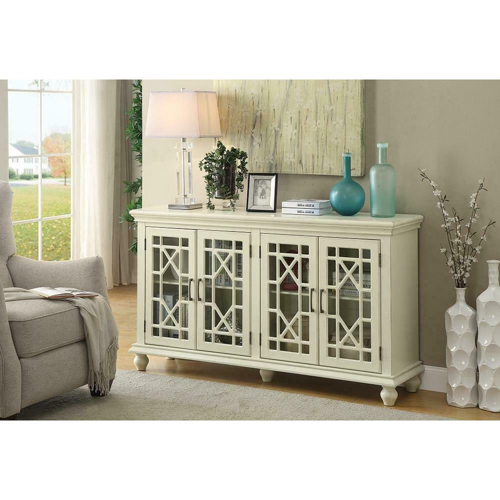 Traditional Antique White Accent Cabinet