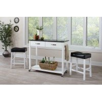 Contemporary White Three-piece Dining Set Product Image