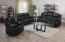 Eden Black Leather Reclining Sofa