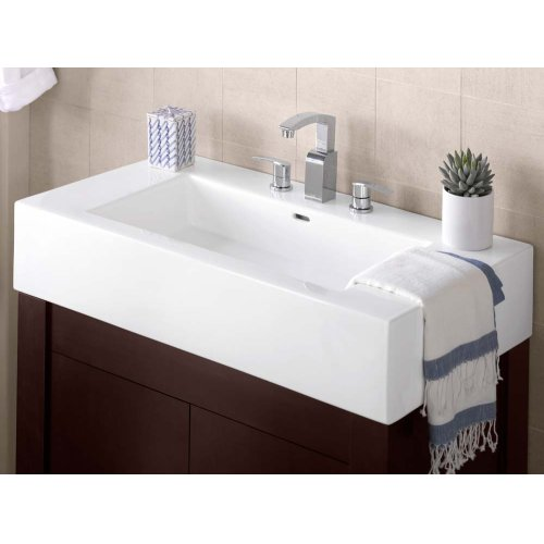 "Prominent™ 37"" Ceramic Sinktop with 8"" Widespread Faucet Hole in White"