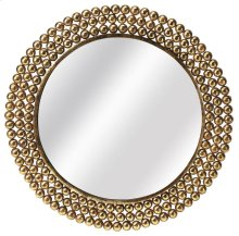 This antique gold mirror will stylishly enhance your space. Featuring a modern loft aesthetic, it is hand crafted from iron, mdf, mirrored glass.