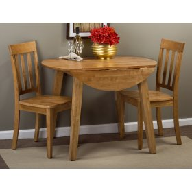 Simplicity Honey Round Dropleaf Table