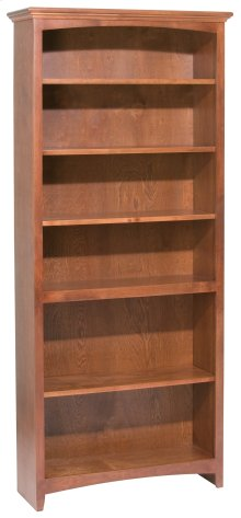"GAC 72""H x 30""W McKenzie Alder Bookcase in Antique Cherry Finish"