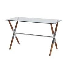X Base Wooden Desk With Nickel Joint Detail & Glass Top.