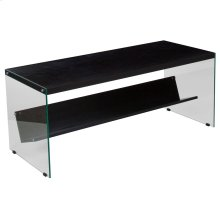 Espresso Finish Coffee Table with Shelves and Glass Frame