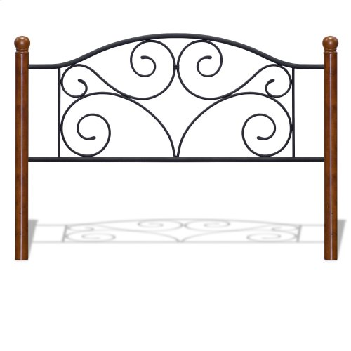 Doral Metal Headboard Panel with Decorative Scrollwork and Walnut Colored Wood Finial Posts, Matte Black Finish, Full