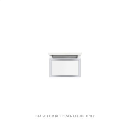 """Profiles 12-1/8"""" X 7-1/2"""" X 21-3/4"""" Framed Slim Drawer Vanity In Matte White With Chrome Finish, Slow-close Full Drawer and Selectable Night Light In 2700k/4000k Color Temperature"""