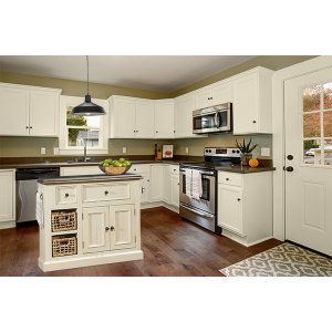 Hillsdale FurnitureTuscan Retreat(r) Medium Granite Top Kitchen Island With 2 Baskets - Country White With Antique Pine T