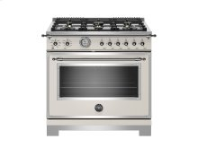 36 inch All Gas Range, 6 Brass Burners Ivory