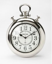This stainless steel and aluminum wall clock's design is reminiscent of a traditional pocket watch. The analog numbers are easily legible from any distance. Its thick, silver frame and simple design gives this contemporary clock a very traditional look an Product Image