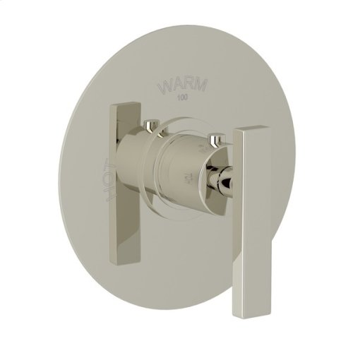 Polished Nickel Pirellone Thermostatic Trim Plate Without Volume Control with Metal Levers