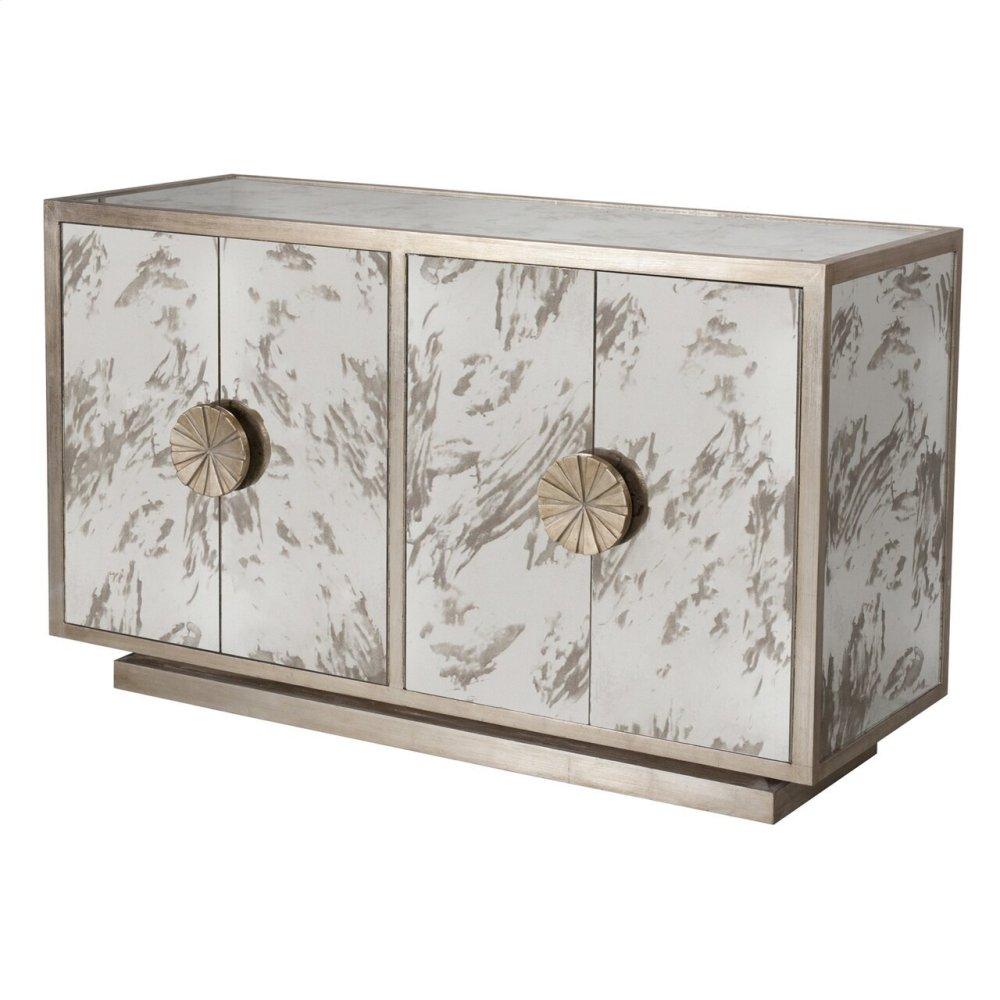 Silver Leaf & Antique Mirror Cabinet With Starburst Handles