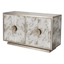 Silver Leaf & Antique Mirror Cabinet With Starburst Handles