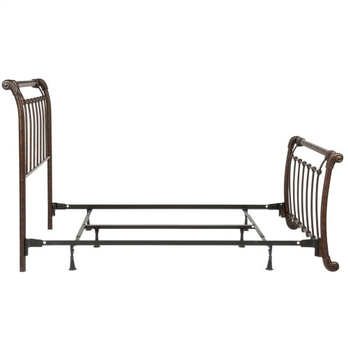 Legion Complete Metal Bed and Steel Support Frame with Sleigh-Styled Panels and Twisted Rope Top Rails, Ancient Gold Finish, Queen
