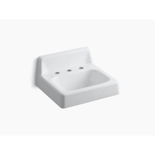 """White 20"""" X 18"""" Wall-mount Bathroom Sink With Widespread Faucet Holes and Lugs for Chair Carrier"""