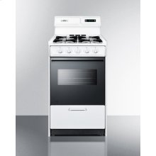 """Deluxe Gas Range In Slim 20"""" Width With Electronic Ignition, Digital Clock/timer, Black Glass Oven Door, and White Porcelain Top; Replaces Wtm1303dk"""