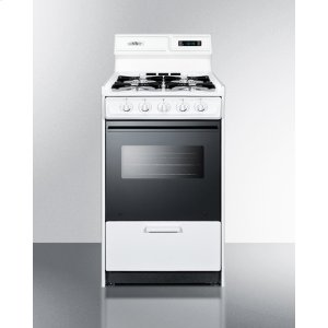 "SummitDeluxe Gas Range In Slim 20"" Width With Electronic Ignition, Digital Clock/timer, Black Glass Oven Door, and White Porcelain Top; Replaces Wtm1303dk"
